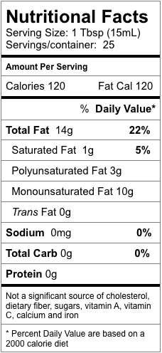 Nutrition information for Roasted Almond Oil