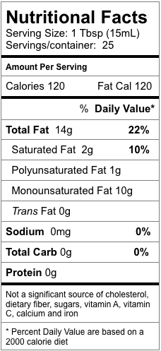 Nutrition information for Baklouti Green Chili Fused Olive Oil