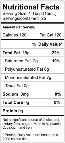 Nutrition information for Dark Toasted Sesame Oil