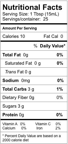 Nutrition information for Traditional Balsamic Vinegar