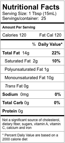 Nutrition information for Bergamot Fused Olive Oil