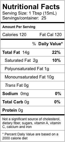 Nutrition information for Ruby Red Grapefruit Fused Olive Oil