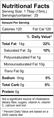 Nutrition information for Rosemary Fused Olive Oil